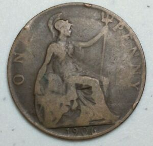 GREAT BRITAIN  UK 1906  ONE PENNY  COIN LG1011