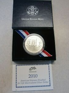 2010 W AMERICAN VETERANS DISABLED FOR LIFE COMM. SILVER DOLLAR BU CASE/COA