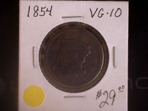 1854 LARGE CENT GREAT TYPE COIN VG   SALE