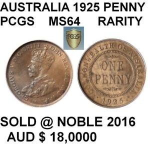 Click now to see the BUY IT NOW Price! AUSTRALIA IMPORTANT RARITY 1925 PENNY PCGS MS64 THIS EXACT SOLD $18K @NOBLE 2016