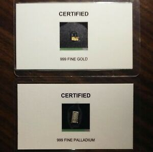 PURE GOLD & PALLADIUM BARS   GEM BU 24K SSB ASSAY INGOT/COIN/EXONUMIA/CHARM.