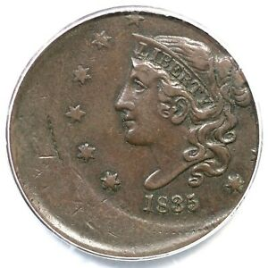 Click now to see the BUY IT NOW Price! 1835 PCGS VF 35 20  OFF CENTER MATRON OR CORONET HEAD LARGE CENT COIN 1C