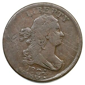 1804 C 10 DOUBLE STRUCK CROSSLET 4 STEMS DRAPED BUST HALF CENT COIN 1/2C