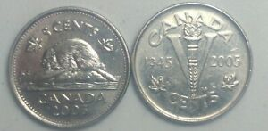 2005 P  CANADA 5 CENT  VICTORY & BEAVER NICKEL COIN