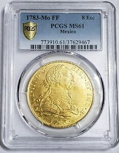 Click now to see the BUY IT NOW Price! 1783 MEXICO 8 ESCUDOS CARLOS III PCGS MS61 GOLD COIN.