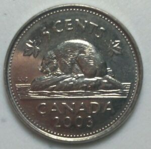 2003 P CANADA 5 CENT  BEAVER NICKEL COIN OLD EFFIGY N1007
