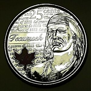 2012 CANADA 25 CENT TECUMSEH COLOURED  BU COIN FROM MINT ROLL UNC