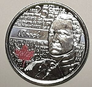 2012 CANADA 25 CENT BROCK COLOURED  BU COIN FROM MINT ROLL UNC