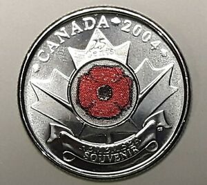 2004 CANADA 25 CENT RED POPPY 'REMEMBER' BU QUARTER FROM MINT ROLL UNC