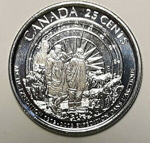 2013 CANADA 25 CENT ARCTIC EXPEDITION FROSTED BU COIN FROM MINT ROLL UNC