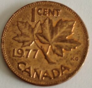 CANADA 1 CENT PENNY  1977  PENNY NICE LUSTRE