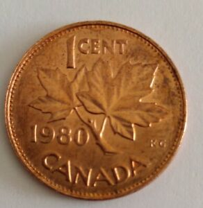 CANADA 1 CENT PENNY  1980 PENNY NICE LUSTRE