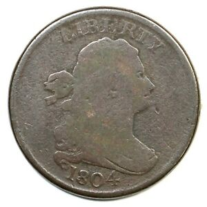 1804 C 7 R 4 MANLEY 7.0 SPIKED CHIN DRAPED BUST HALF CENT COIN 1/2C