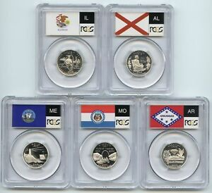 Click now to see the BUY IT NOW Price! 2003 CLAD ALABAMA ARKANSAS ILLINOIS MISSOURI & MAINE STATE FLAG SET PCGS PR70