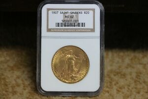 1907 SAINT GAUDENS $20 NGC MS 62 GOLD .9675 OUNCE COIN