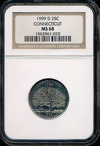 Click now to see the BUY IT NOW Price! 1999 D CONNECTICUT QUARTERS NGC MS68 FINEST GRADE