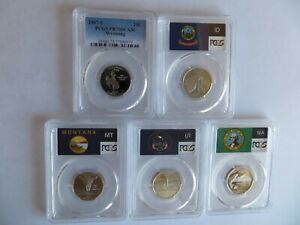 Click now to see the BUY IT NOW Price! 2007 CLAD STATE FLAG 5 COIN  WY ID MT WA UT  PROOF SET PCGS PR70 DCAM QUARTERS