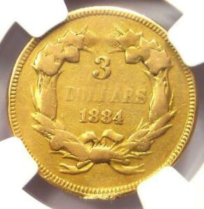 1884 THREE DOLLAR INDIAN GOLD COIN $3   ONLY1000 COINS EVER MINTED