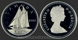 1982 CANADA 10 CENTS PROOF DIME FROM MINT SET UHCAMEO