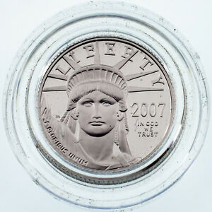 2007 W 1/10 OZ. PLATINUM PROOF EAGLE IN GEM UNCIRCULATED CONDITION