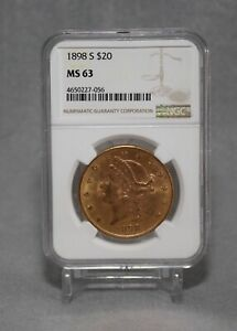 1898 S $20 LIBERTY GOLD DOUBLE EAGLE NGC GRADED MS63