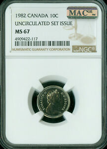 Click now to see the BUY IT NOW Price! 1982 CANADA 10 CENTS NGC MAC MS67 PQ  SPOTLESS POP 1  ..