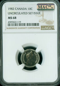 1982 CANADA 10 CENTS NGC MAC MS68 PQ 2ND FINEST GRADE SPOTLESS POP 1 ..
