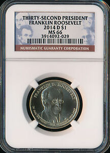 2014 D FRANKLIN ROOSEVELT DOLLAR NGC MS66