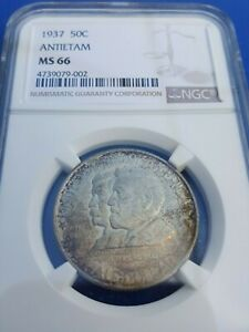 1937 ANTIETAM COMMEMORATIVE HALF NGC MS 66  MINTAGE OF ONLY 18 028