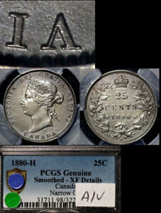 Click now to see the BUY IT NOW Price! ELITE VARIETIES CANADA 25 CENTS   1880H NARROW 0 A OVER V   PCGS XF  A534