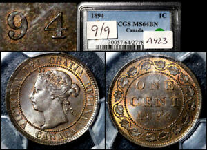 Click now to see the BUY IT NOW Price! ELITE VARIETIES CANADA LARGE CENT 1894 REPUNCHED 9/9 PCGS MS64 TOP  A423