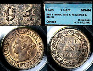 Click now to see the BUY IT NOW Price! ELITE VARIETIES CANADA LARGE CENT 1894 REPUNCHED 9/9 CCCS MS64 TOP  A424