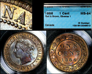 Click now to see the BUY IT NOW Price! ELITE VARIETIES CANADA LARGE CENT 1886 OBVERSE 1   CCCS MS64  A378