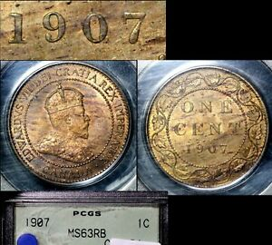 Click now to see the BUY IT NOW Price! ELITE VARIETIES CANADA LARGE CENT 1907 REPUNCHED 7/7 RT/LT   MS63   A448
