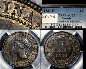 Click now to see the BUY IT NOW Price! ELITE VARIETIES CANADA LARGE CENT 1881H SPUR N REGINA PCGS AU53  A357