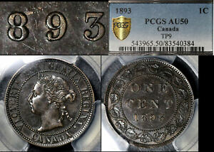 Click now to see the BUY IT NOW Price! ELITE VARIETIES CANADA LARGE CENT 1893 TRIPLE PUNCHED 9   PCGS AU50 TOP 2  A408
