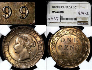 Click now to see the BUY IT NOW Price! ELITE VARIETIES CANADA LARGE CENT 1899 TRIPLE PUNCHED 9 NGC MS64  A439