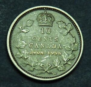 1908 1998 CANADIAN 10 STERLING SILVER  90TH ANNIVERSARY ANTIQUE FINISH