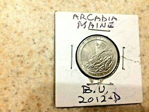 U.S. 2012 D  ATB  BEAUTIFUL UNCIRCULATED ACADIA MAIN QUARTER  IN MYLAR COIN FLIP