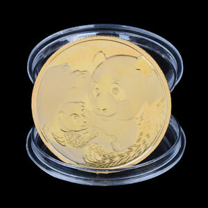 2019 CHINA PANDA COMMEMORATIVE COIN GOLD PLATED SOUVENIR COIN TOURISM GI BX