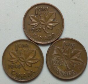 1941 1943 & 1949  CANADA 1 CENT PENNY  KING GEORGE VI VARIETY