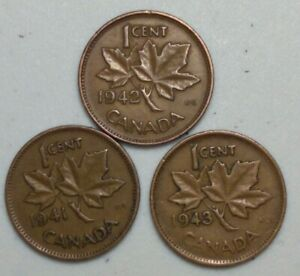 1941 42 &43  CANADA 1 CENT PENNY  KING GEORGE VI VARIETY