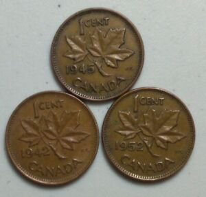 1942 1945 & 1952  CANADA 1 CENT PENNY  KING GEORGE VI VARIETY