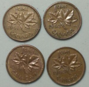 1961 1964   CANADA 1 CENT PENNY YOUNG QUEEN