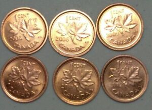 2006 2102 CANADA 1 CENT PENNY LOT OF 6 DIFFERENT NON MAGNETIC