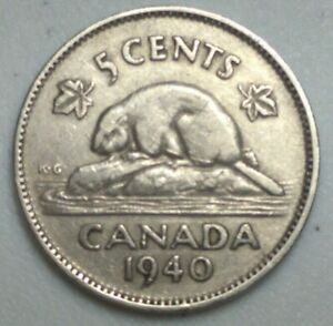 1940  CANADA 5 CENT NICKEL COIN KING GEORGE VI PN31A