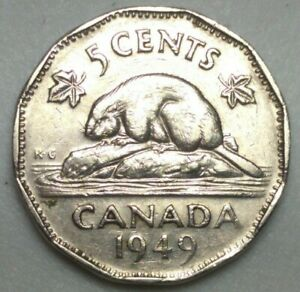 1949 CANADA 5 CENT NICKEL COIN KING GEORGE VI PN26A