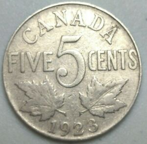 1923 CANADA  5 CENT NICKEL COIN KING GEORGE V PN2A