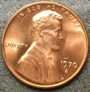 1970 S  UNCIRCULATED BU RED LINCOLN MEMORIAL CENT  FREE SHIP