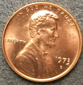 1973 D  UNCIRCULATED BU RED LINCOLN MEMORIAL CENT  FREE SHIP
